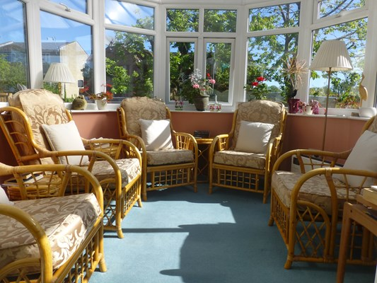 The conservatory is a great place to sit back and relax