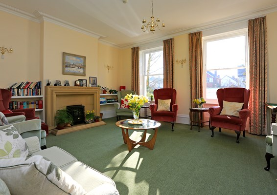 The communal lounge at Abbeyfield House, Prestbury